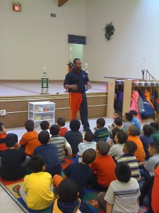 """Al-Karim Campbell introduces the class to. """"what is electric footbal""""."""