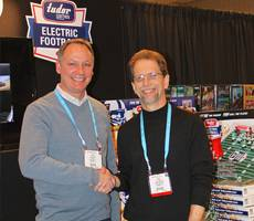 Doug Strohm (left) and electric football historian Earl Shores hope the board game that defined a generation can make a comeback with a younger audience. Courtesy: Doug Strohm Tudor Games President
