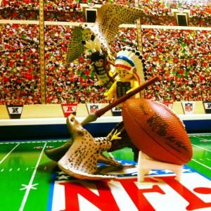 The Dirty Bird Electric Football League features various Atlanta Falcon teams and Lego photo ops.